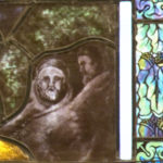 Two people hiding in the stained glass.